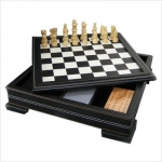 7-in-1 Black Leatherette Game Set