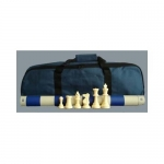 Standard Tournament Chess Set, Chess Pieces, Blue Board and Blue Tote