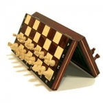 10.5-inch Magnetic Wooden Travel Chess Game - Brown