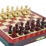 7-3/8in Magnetic Folding Chess Set in Blood Rosewood & White Maple