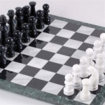 Marble Black & White Chess Set, 18-inch