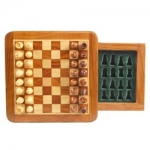 5-inch Magnetic Wood Square Travel Chess Game w/drawer